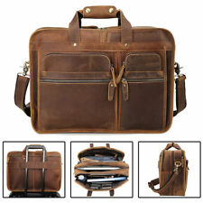 "Men Vintage Leather Travel Messenger Bag For 17"" Laptop Briefcase Tote Satchel"