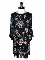 LAUREN RALPH LAUREN Size 18 Shift Dress Blue Orange Floral Flared 3/4th Sleeve