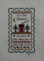 """Tis the Season"" House ABC Sampler Cross Stitch Completed Finished Unframed"