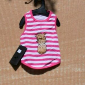 Hotel Doggy - Pink Striped Pineapple Tank (Pet, Dog) Small