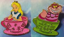 Alice In Wonderland And Cheshire Cat In Teacup Pin badge Enamel Metal Brooch
