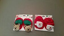 New Infant Christmas Holiday Santa Claus Or Reindeer Slippers~You Choose
