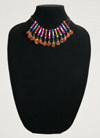 Vintage Style Necklace Collar Length Marbled Glass & Polished Agate Beads Boho