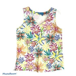 Fresh Produce New Bright Floral V-Neck Tank Top Small