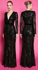 New Goddiva Sequin Sleeved Deep V Maxi Long Dress Gown 10 Evening Gatsby Quiz?