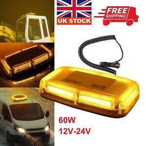 6 LEDs Amber Warning Strobe Recovery Light Car Roof Flashing Bar Beacon Magnetic
