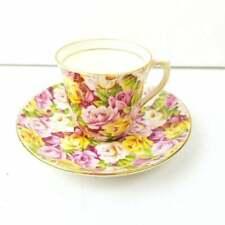 Vintage Colclough Bone China Demitasse Tea Cup & Saucer Floral Chintz Roses FLAW
