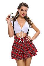 Sexy Disfraz de niña de escuela de socios de estudio Juego de Rol Mujer Vestido preppy 8-10-12