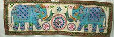 Indian Wild Elephant Patchwork Wall Hanging Throw Hippie Table Cover Runner Deco