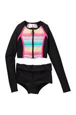 Hobie 12 Girls 2 Pc Rash Guard Tankini Swimsuit Set Black Long Sleeve Boy Short