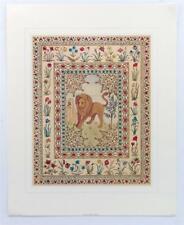 Vintage HELEN HALL Persian Themes Folk Art Animals Lion Cats Lithograph #Z200