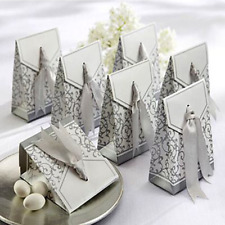 50x Silver Laser Cut Candy Gift Boxes Ribbon Wedding Favor Baby Shower Box
