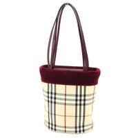 BURBERRY Tote Bag Nova Check Ladies Authentic Used T5048