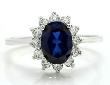 2.14 Carat Natural Sapphire and Diamonds in 10K Solid White Gold Women's Ring