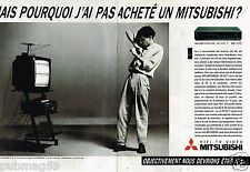 Publicité Advertising 1986 (2 pages) TV Hi-Fi magnetoscope téléviseur Mitsubishi