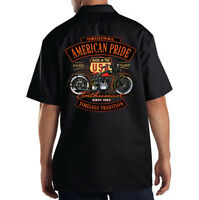 Dickies Black Mechanic Work Shirt American Pride USA Classic Motorcycle Biker