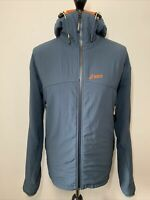 ASICS Vintage Retro 90's Grey Blue Zip Top Hooded Jacket Coat Windbreaker XL
