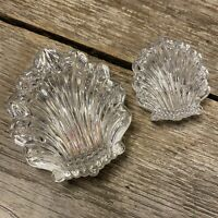 """LOT 2 Vintage Gorham Lead Crystal Chantilly Shell Box Trinket Jewelry 4"""" and 3"""""""
