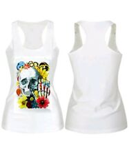 Flowers Skull Tank Top Racerback Singlet Festival Party Gym Sport Stretchy Fun