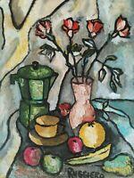 Amedeo Ruggiero, Quadro Moderno Natura Morta fiori e frutta Dipinto olio su tela