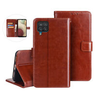 For Samsung Galaxy A12 Shockproof Magnetic PU Leather Case Flip Stand Cover