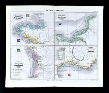 1877 Vuillemin Map La France Maritime Coast - Brest Rochefort Toulon Cherbourg