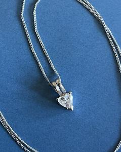 9ct White Gold Solitaire Diamond Necklace 0.25ct Heart Cut Pendant