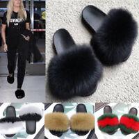 Women's Sliders Luxury Real Fox Fur Indoor Outdoor Slides Slippers Sandals ShoeK