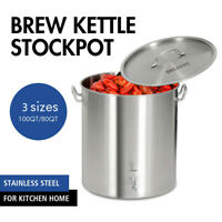 60/80/100QT Stainless Steel Stock Pot w/Steamer Basket Cookware Boiling Steaming