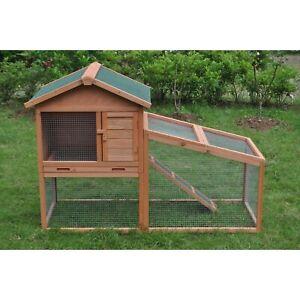 ALEKO Wooden Pet House Rabbits Chickens Hen Coop Wooden Cage 56.5x25.6x39.4 In
