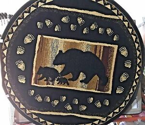 Paws BLACK Bear Lodge ROUND 5x5 area rug for the home Nature Whittney Collection