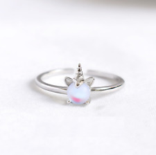 925 Sterling Silver UNICORN TEAR OPAL STONE Adjustable Open Band Ring Gift Box