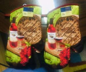 Home Collection Kitchen Oven Mitts Mittens Wine Grapes. Lot of 2. A+Seller.