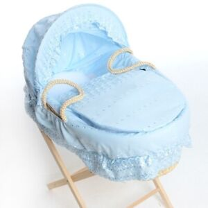 Isabella Alicia Blue Broderie Anglaise Moses Basket Dressing, Covers Set