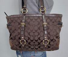 COACH Medium Brown Signature Canvas Leather Shoulder Hobo Tote Satchel Purse Bag