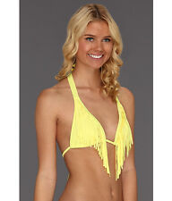 NWT  GUESS  SWIMWEAR   THE PROWL  YELLOW FRINGE   SMALL   HALTER  TOP ONLY
