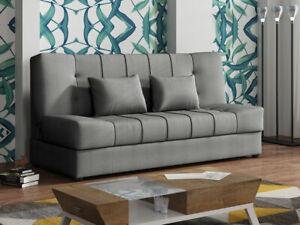 Sofa Milis mit Bettkasten und Schlaffunktion Holzfüße Wohnzimmer Elegant Couch
