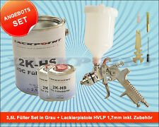 3,5 Litros Set Relleno Gris + Pistola aerográfica 1,7mm HVLP lackpoint pintura