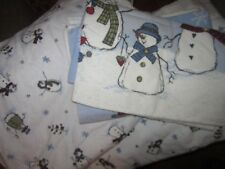 Sonoma Flannel Sheet Set Snowman Pattern Queen Fitted Flat Sheet Pillowcases