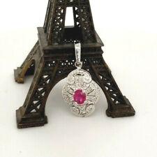 Vintage Natural Ruby .44tcw & Diamond .16tcw 14k white gold pendant enhancer