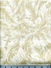 Fabric #2229, Large Cream & Light Beige Leaves, Kona Bay Sold by 1/2 Yard