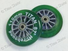 110mm GREEN Scooter Replacement Wheels with Bearings fits Razor Pro XX MGP Nitro
