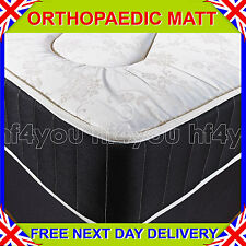 "NEW 4ft 6"" Double BLACK FIRM 10"" ORTHOPAEDIC DEEP QUILTED DAMASK MATTRESS"