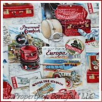 BonEful FABRIC FQ Cotton Quilt Red Antique Bag VTG Airplane Train Car Ship Boat