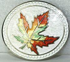 VINTAGE 1940'S STERLING SILVER ENAMEL MAPLE LEAF PIN CANADA