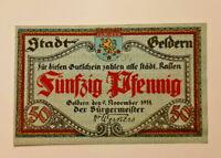 GELDERN NOTGELD 50 PFENNIG 1918 NOTGELDSCHEIN (10986)