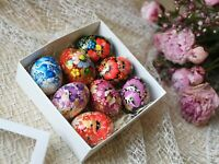 Set of 8 handpainted wooden eggs Easter ornaments Wood gift Ukraine poppy flower