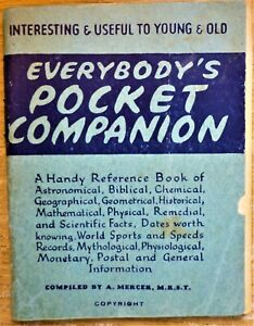"A. Mercer ""EVERYBODY'S POCKET COMPANION"" VINTAGE PB"