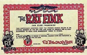 RAT FINK FAN CLUB CERTIFICATE