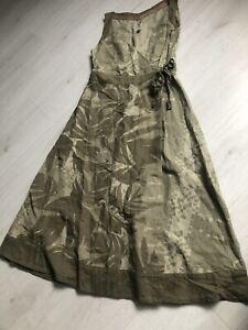 Fatface Khaki Green Abstract Palm Leaf Linen Blend Wrap Over Gorgeous Dress - 12